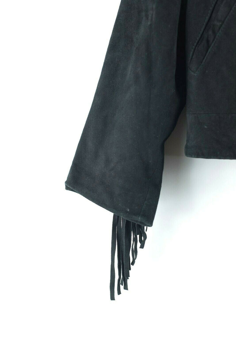Built By Wendy Womens Size XS Black Jacket Cropped Suede Leather Fringe Coat