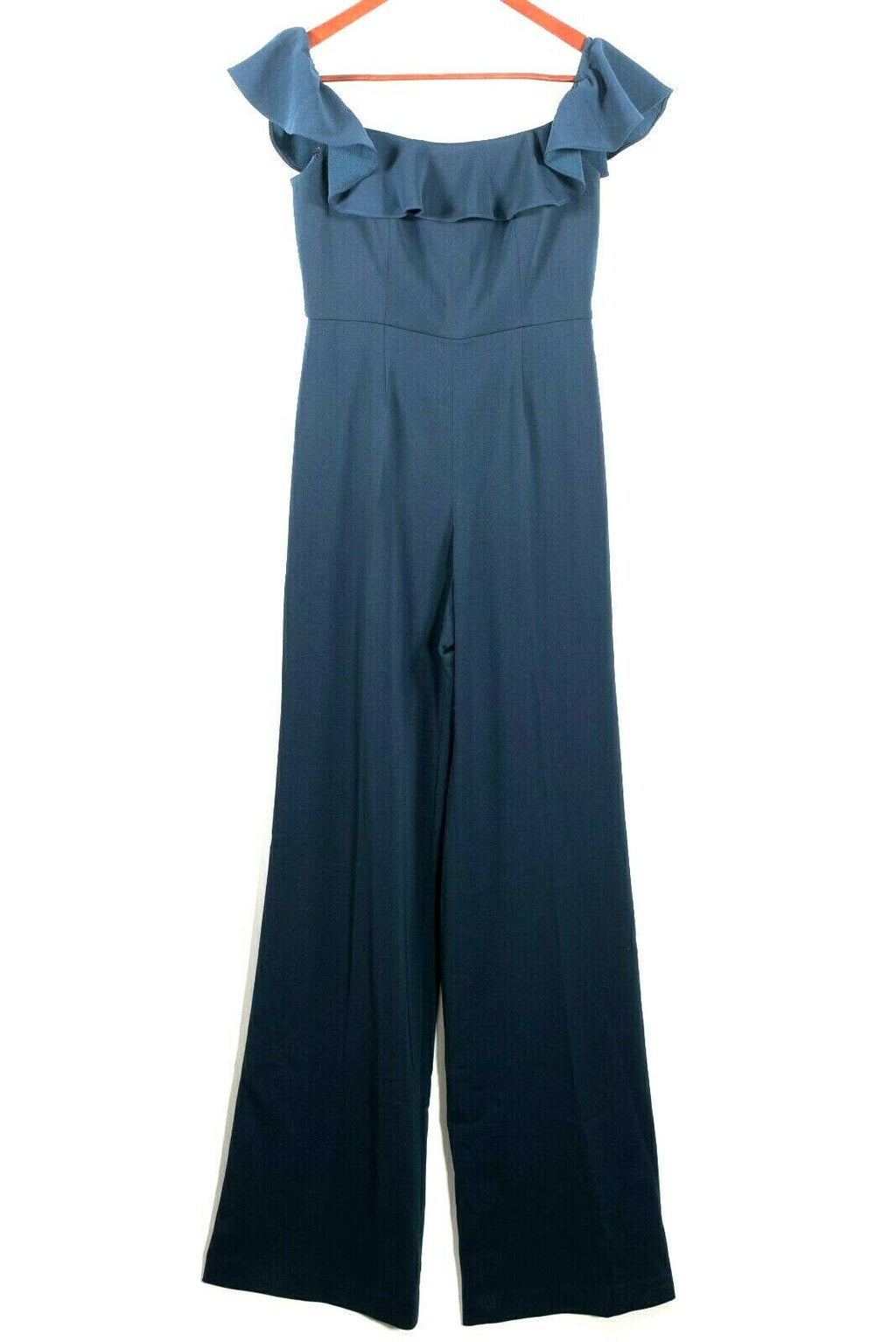 Jay Godfrey Womens Size 0 Navy Blue Jumpsuit Off Shoulder Ruffle Wide Leg $495