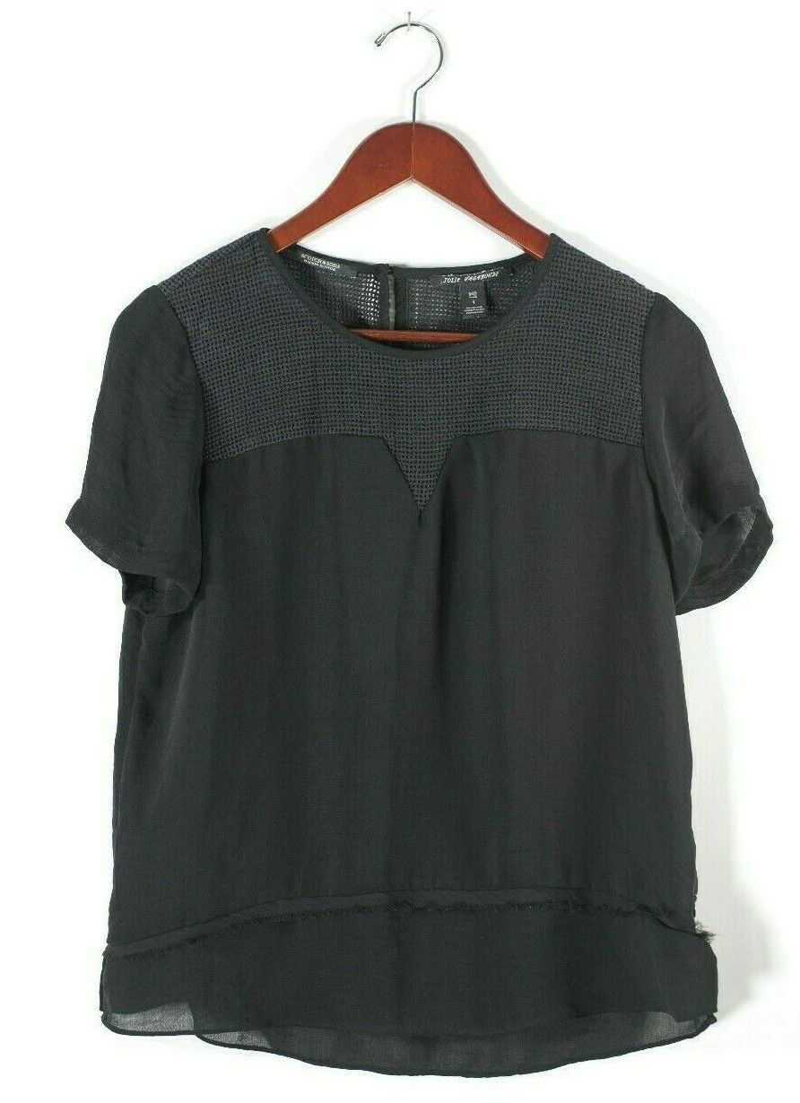 Maison Scotch & Soda Womens 1 Small Black Blouse Mesh Jolie Vagabond Shirt Top