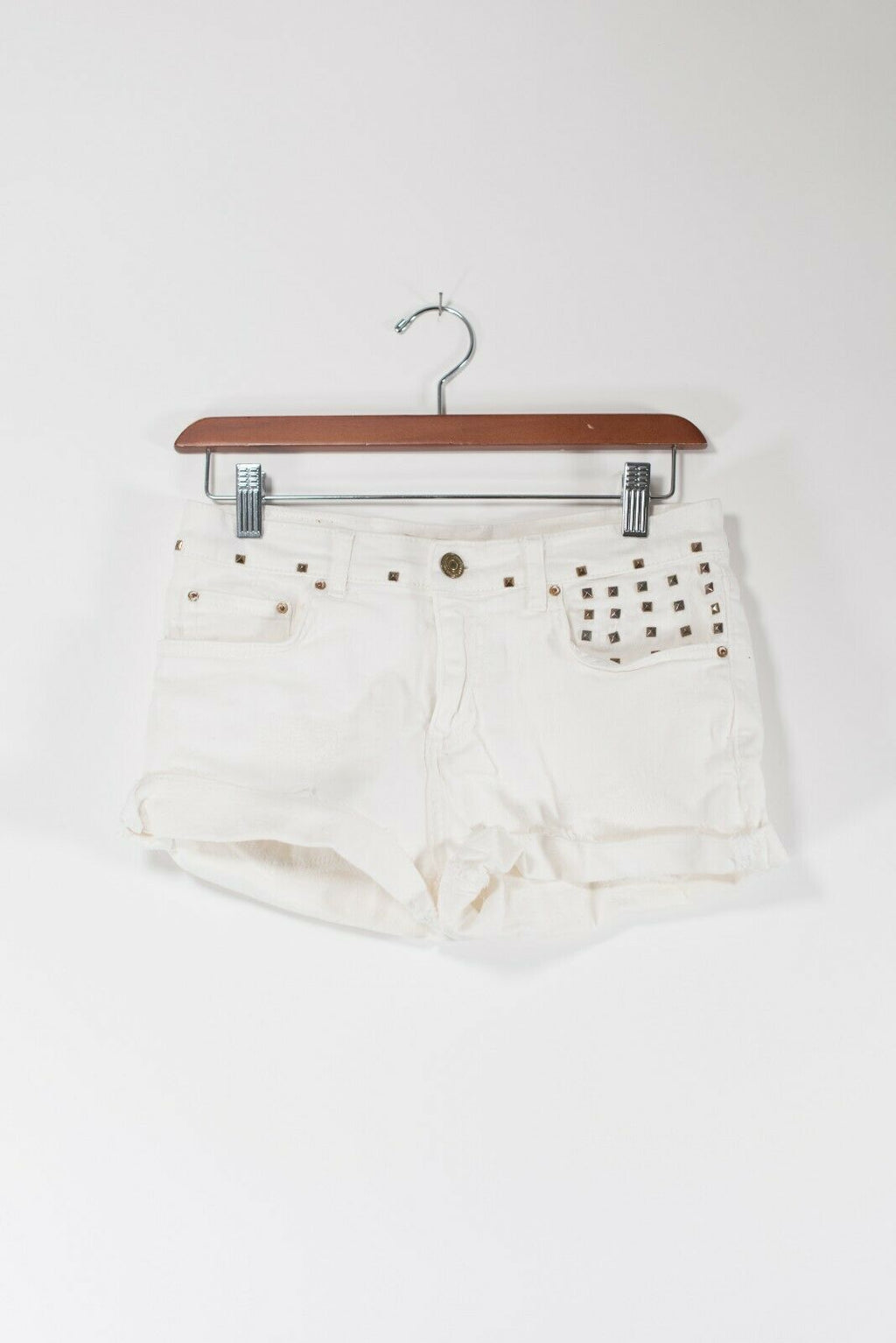 Zara Womens Size 4 White Denim Jean Shorts Cut Offs Golden Studded Low Rise