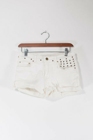 Aritzia Talula Size 24 XXS White Cutoff Shorts Distressed Denim 5 Pocket Jeans