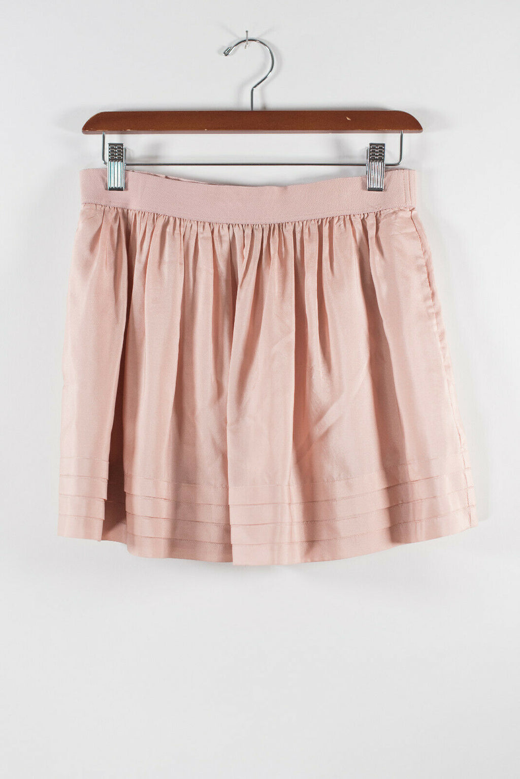 BCBG MaxAzria Womens XS Rose Pink Mini Skirt Elastic Waist Ruched Short Layered