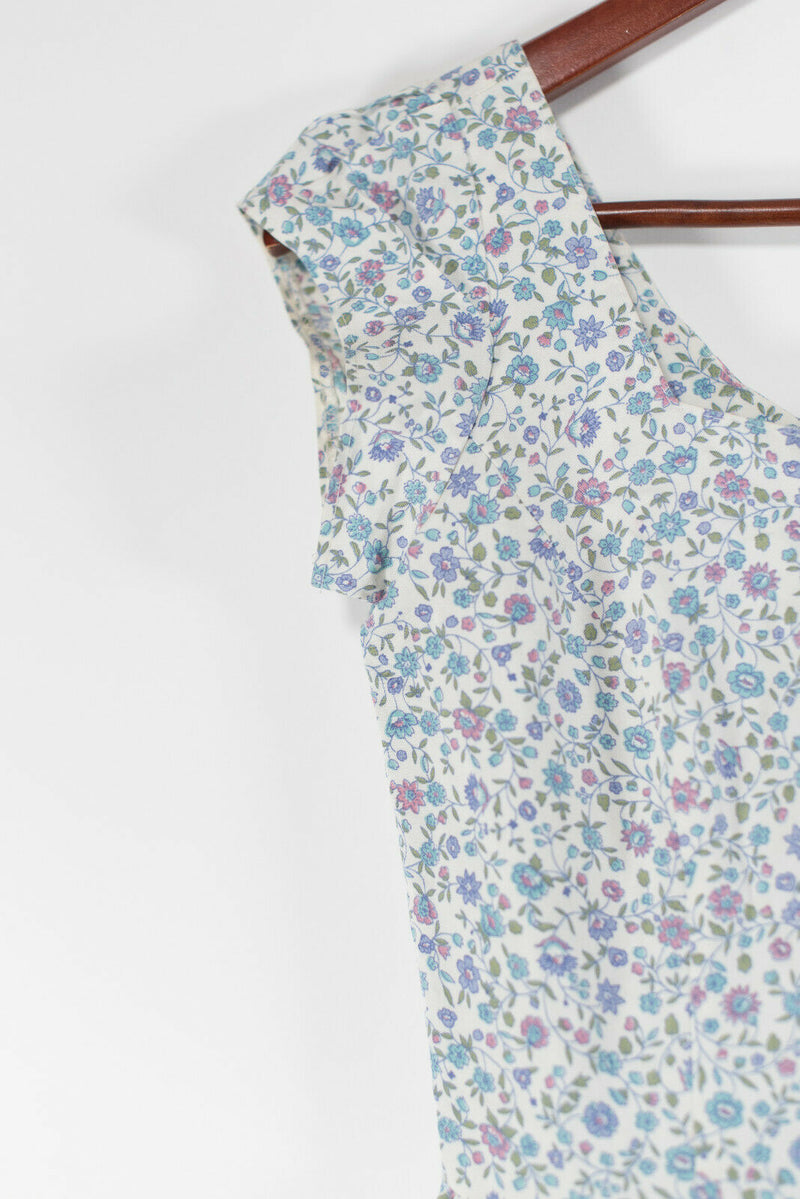 Womens Size Small White Blue Tea Dress Floral Print Dress Vintage Cap Sleeves
