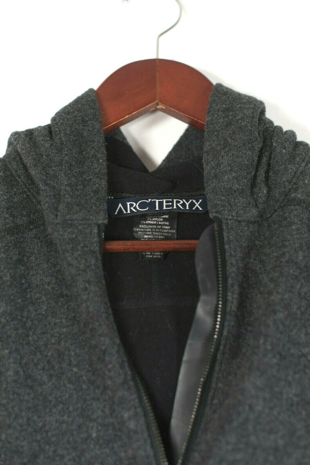 Arc'teryx Mens Small Charcoal Grey Gothic Hoodie Zip Up Jacket Warm Italian Wool