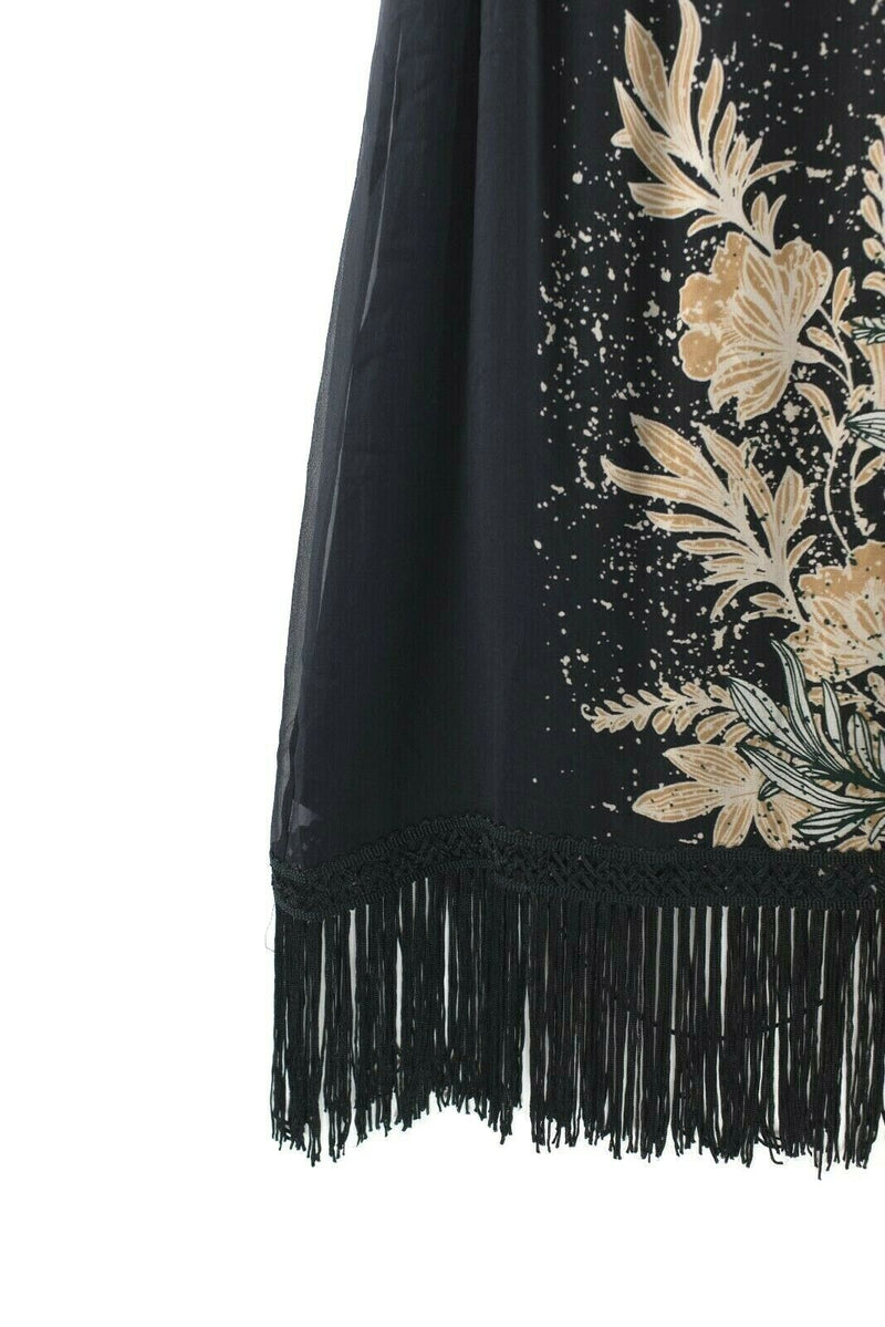 Ella Moss Womens Size Small Black Dress Fringe Midi Sleeveless Flowy Silk Zaneen