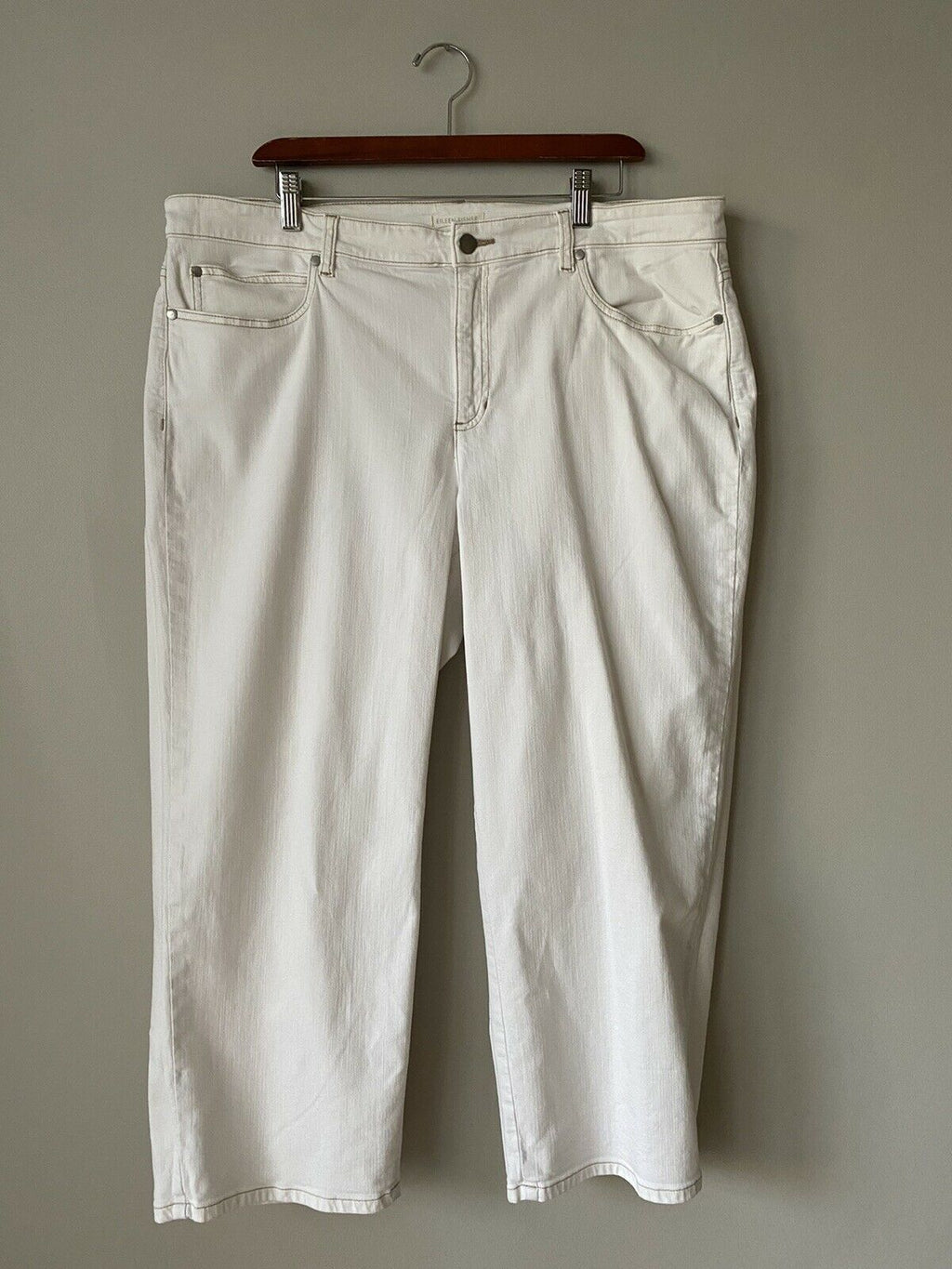 Eileen Fisher Size 16 Ivory Jeans Straight Leg Cropped Ankle Pants Zipper Denim