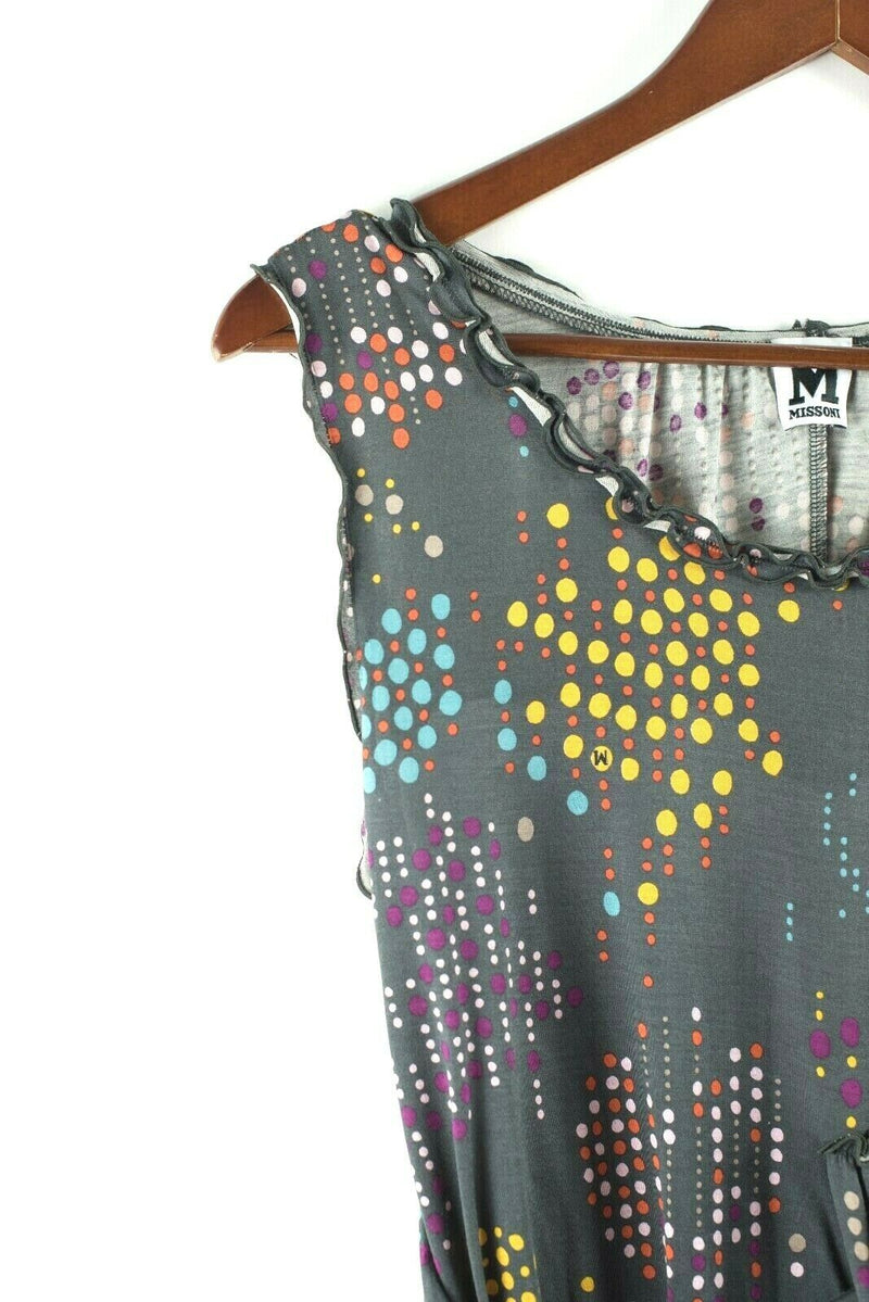 M Missoni Womens Size 10 Medium Grey Dress Polkadot Cotton Short Mini Sleeveless