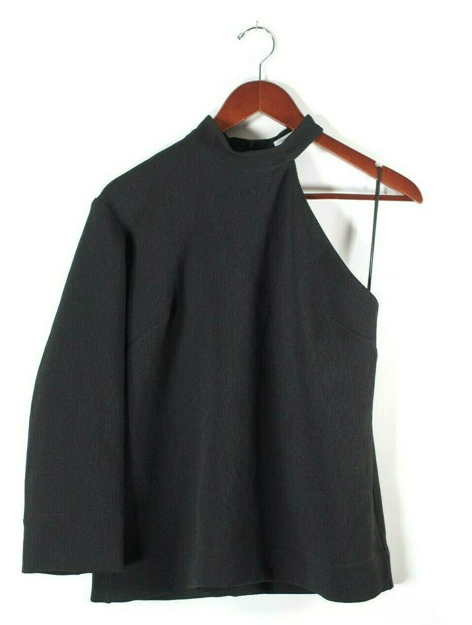 Nomia NYC Womens Size 6 Small Black Blouse One Sleeve Crepe Asymmetrical Shirt