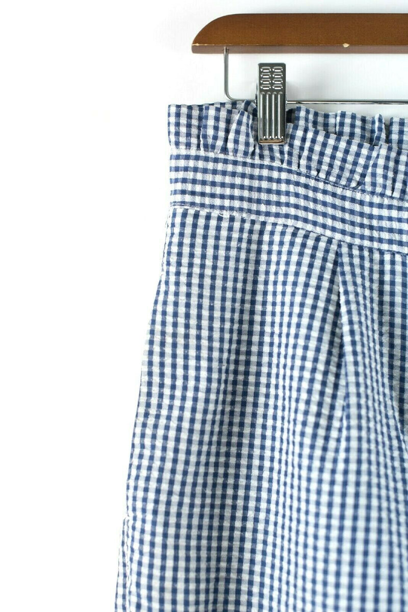 Topshop WOmen's Size 4 Blue White Pants Mensy Gingham Ruffle Waist
