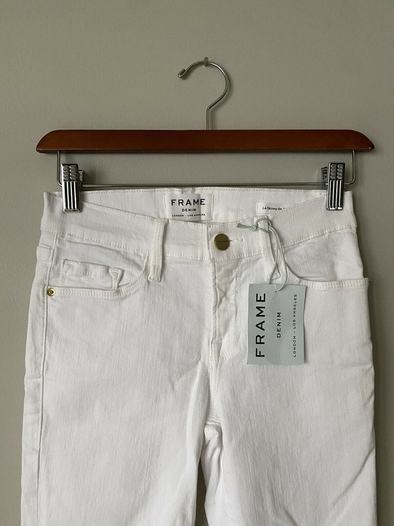 Frame Denim Women's Size 25 White Jeans Le Skinny de Jeanne Frayed Denim NWT