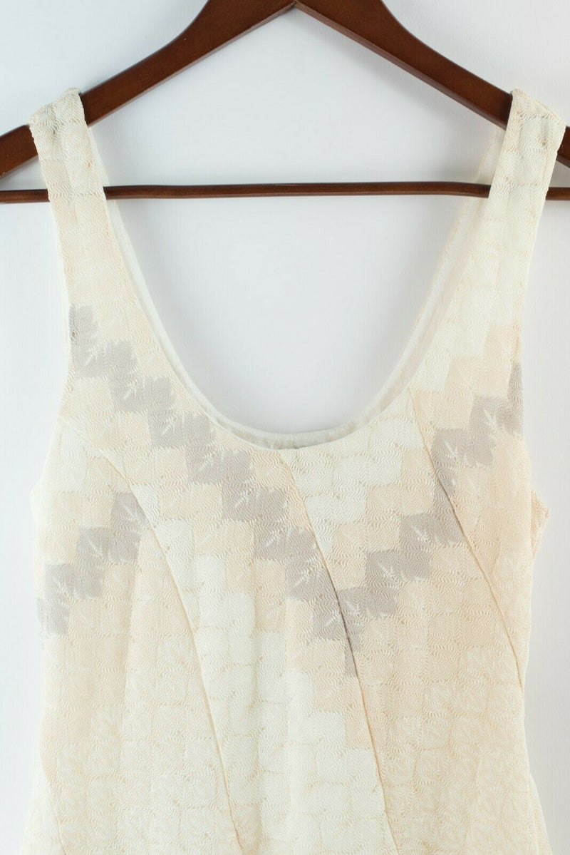 Free People Womens XS Extra Small Cream Beige Dress Slip Crochet Skater Mini