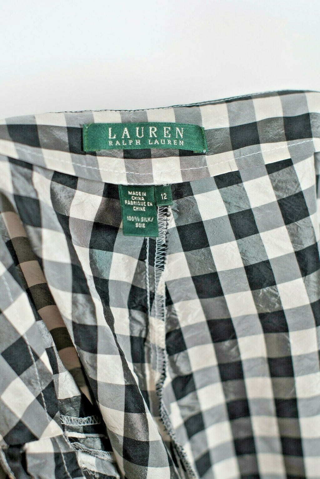 Ralph Lauren Size 12 Black White Gingham Checkered Trousers