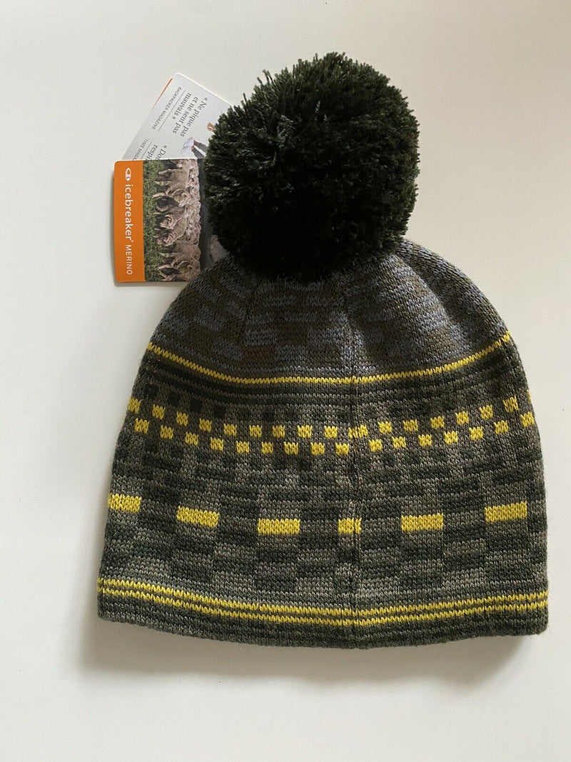 Icebreaker Unisex Green Yellow Beanie Hat Knit Pattered Pom Pom Wool Toque NWT