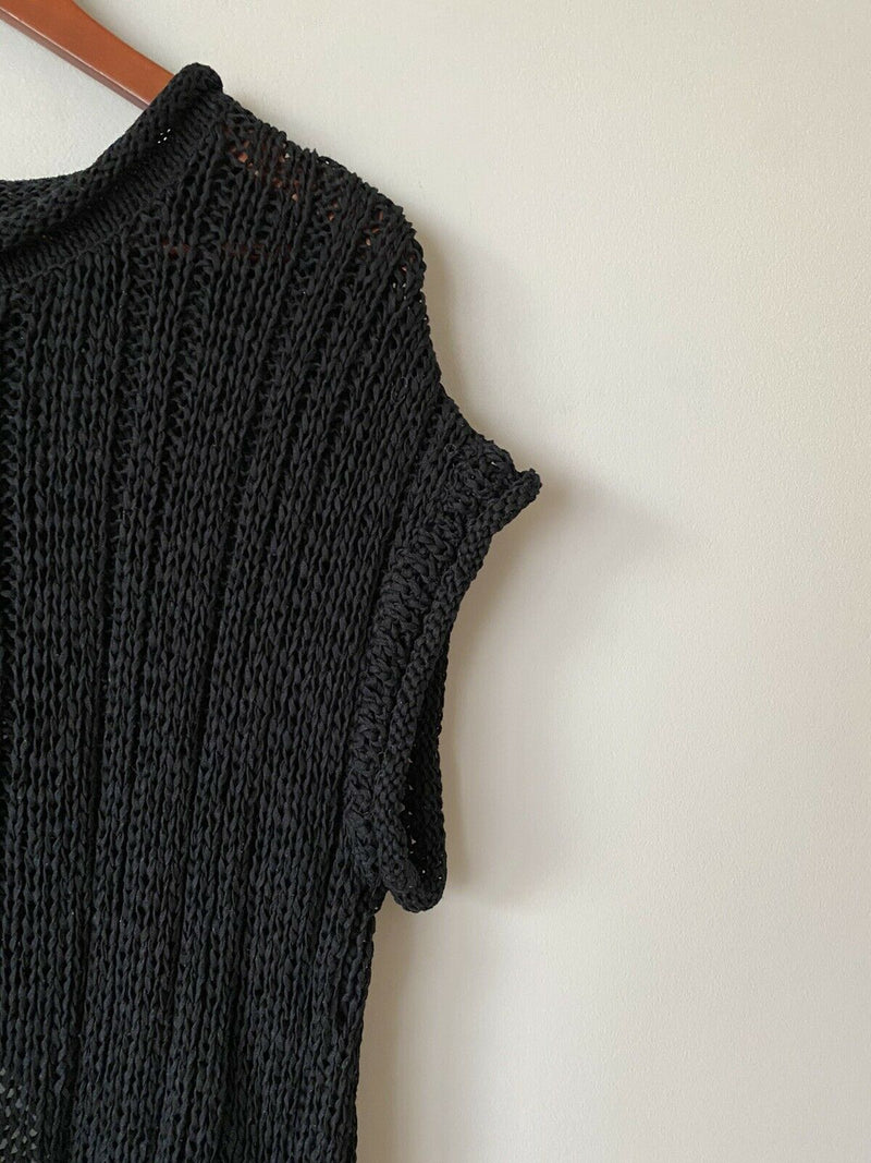 United Bamboo Women's Size S/M Black Pullover Sweater Short Sleeve Knit Shirt
