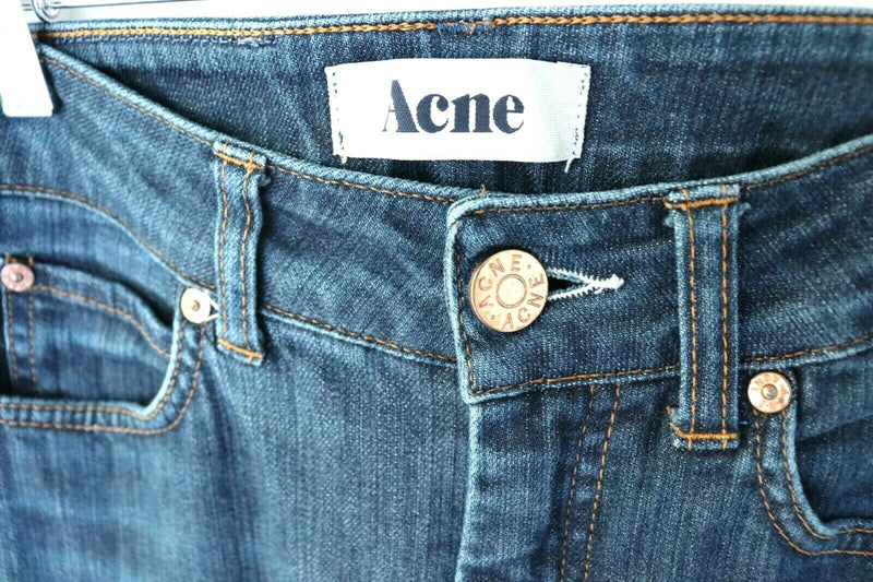 Acne Studios Womens Size 26 x 32 Blue Jeans Denim Hex DC Dark Straight 5 Pocket
