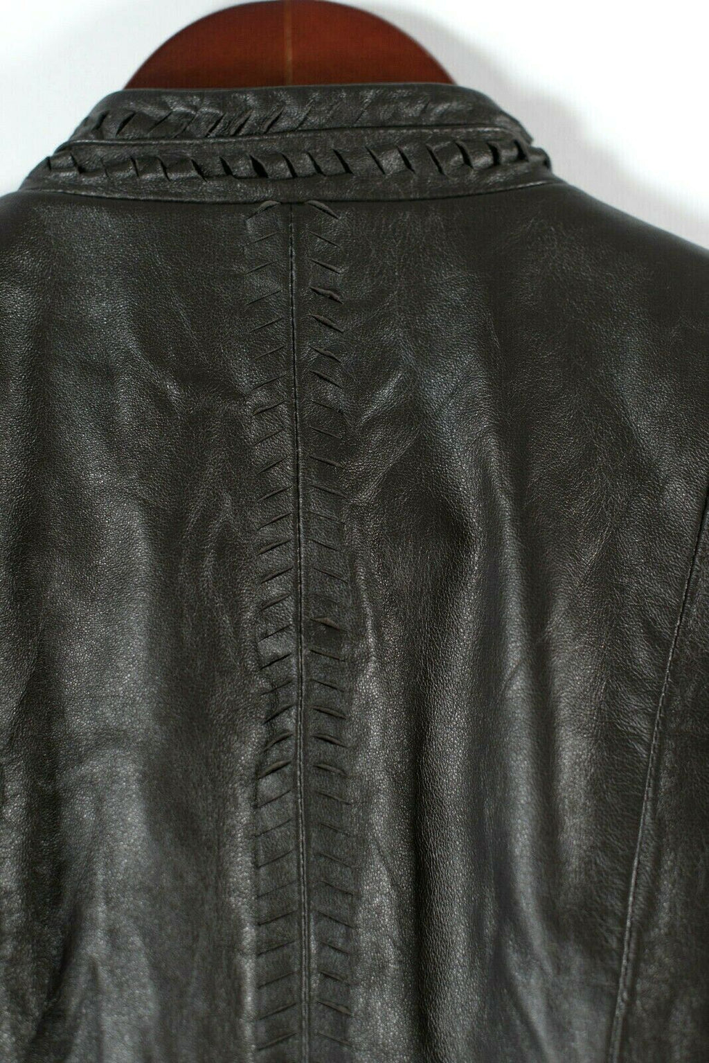 Elie Tahari Re Edition Womens Medium Brown Moto Jacket Hook Closure Soft Leather