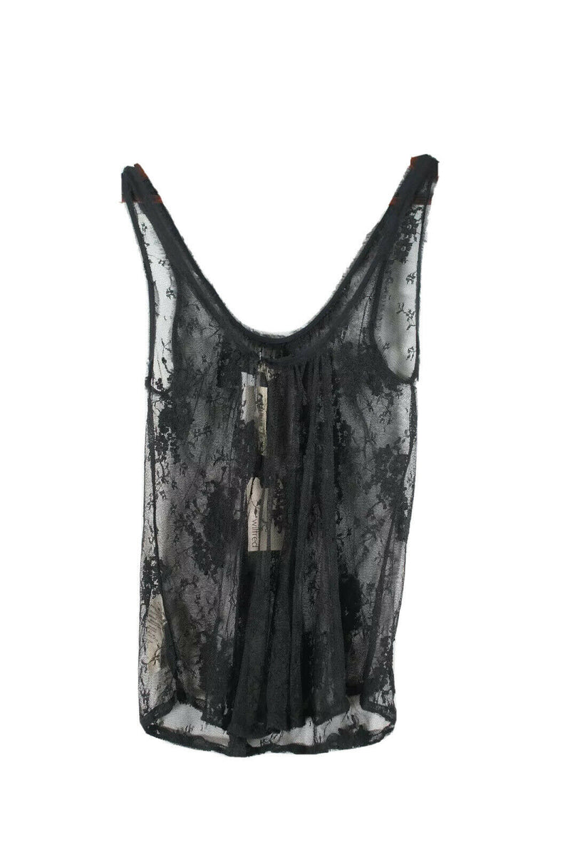 Wilfred Artizia Womens XXS Black Tank Top Sheer Lace Vintage Lac Cami Shirt NWT