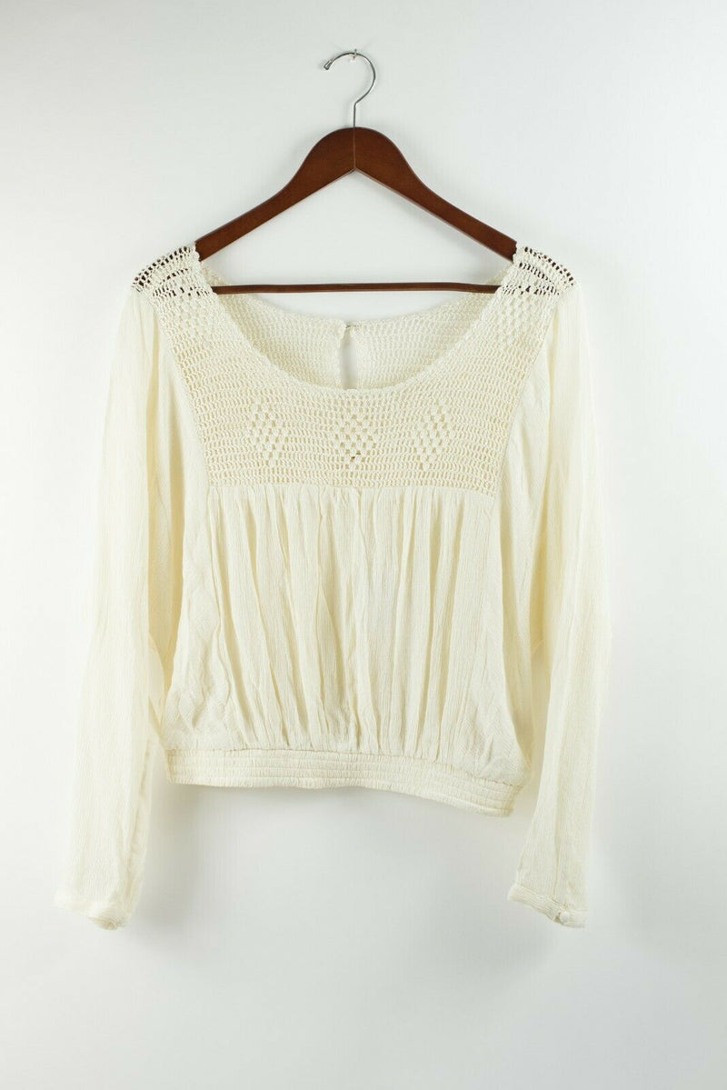 Free People Womens XS Small Cream Shirt Crochet Pullover Top Keyhole Back NWT