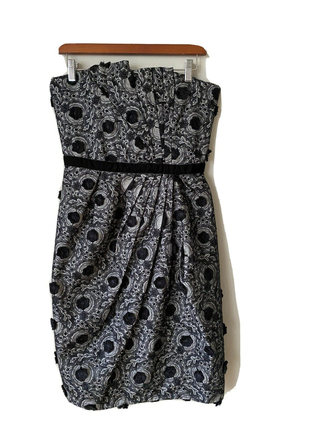 Marc by Marc Jacobs Women's Size 6 Small Gray Black Dress Strapless Ruffle Mini