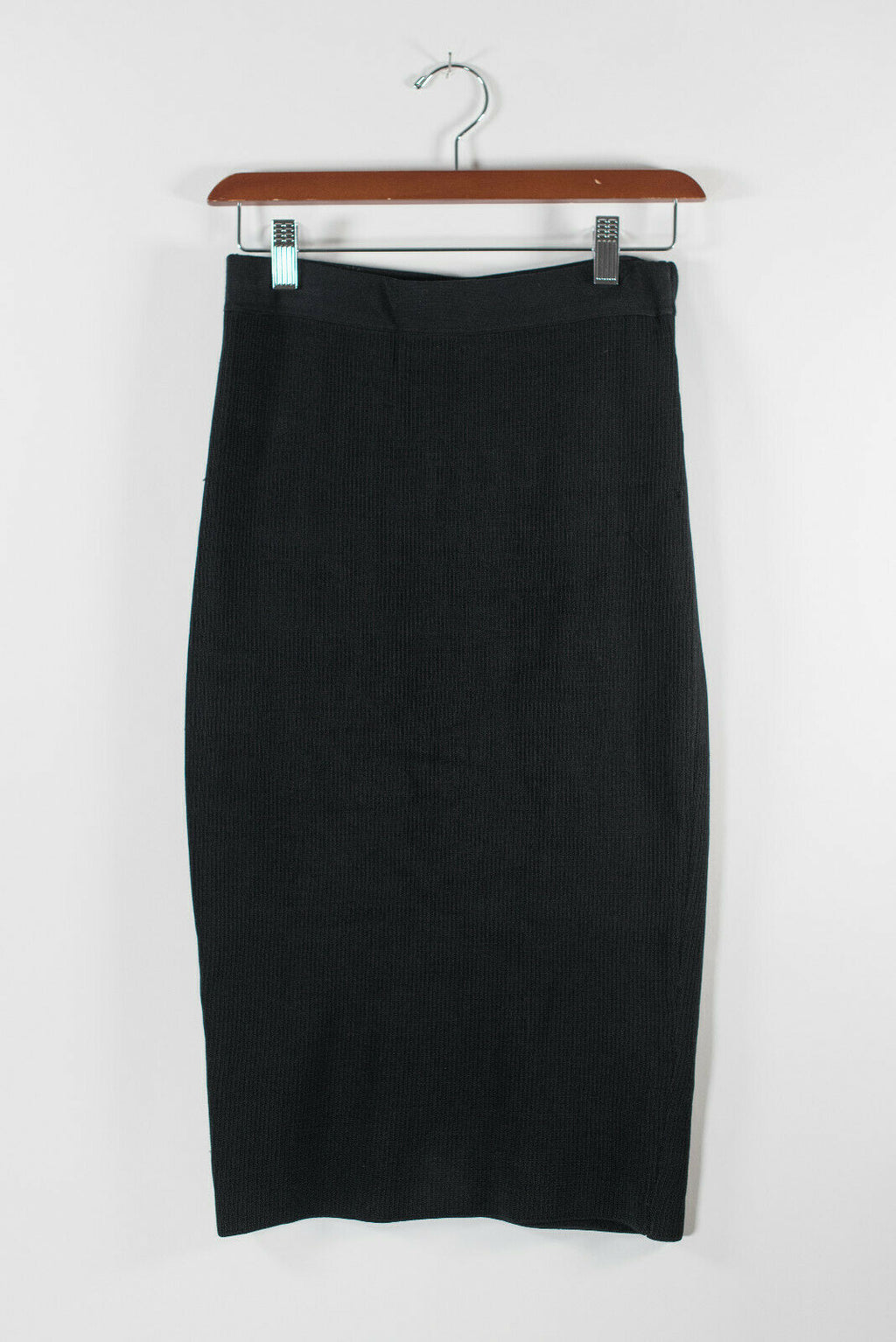 Leith Nordstrom Womens XS Black Pencil Skirt Midi Knit Stretch Elastic Waist
