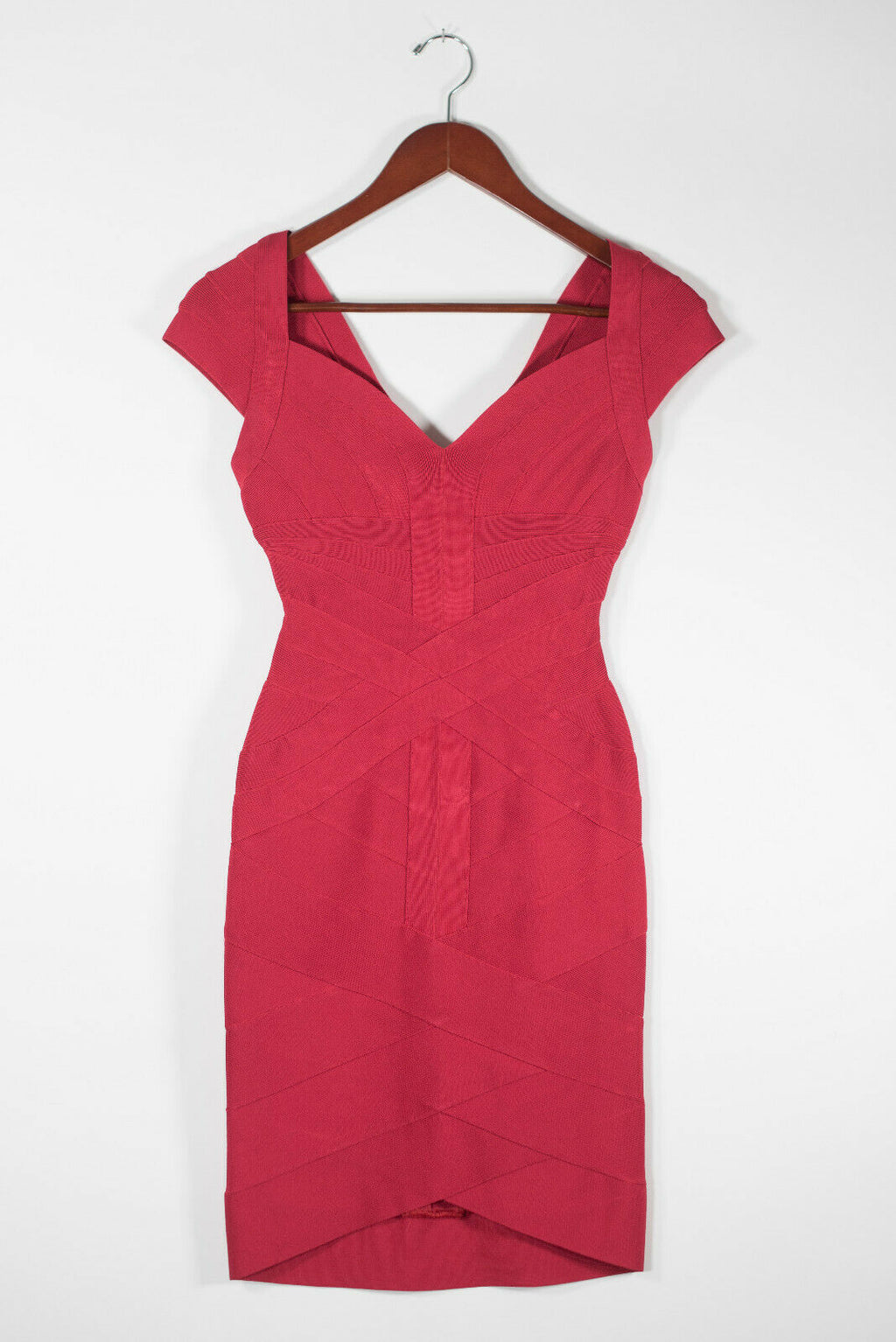Herve Leger Womens XS Red Dress Bandage Sweetheart Neck Cap Sleeve Stretch Mini