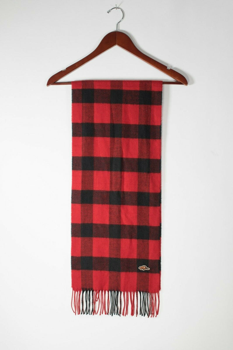 Roots Unisex Red Black Scarf Buffalo Check Plaid Soft Knit Frayed Fringe Shawl