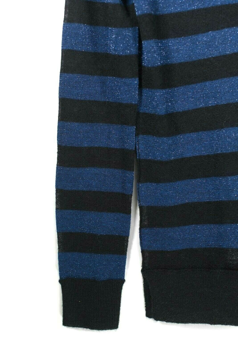 Joie Womens XS Black Cardigan Long Sleeve Sparkle Blue Striped Knit Sweater NWT