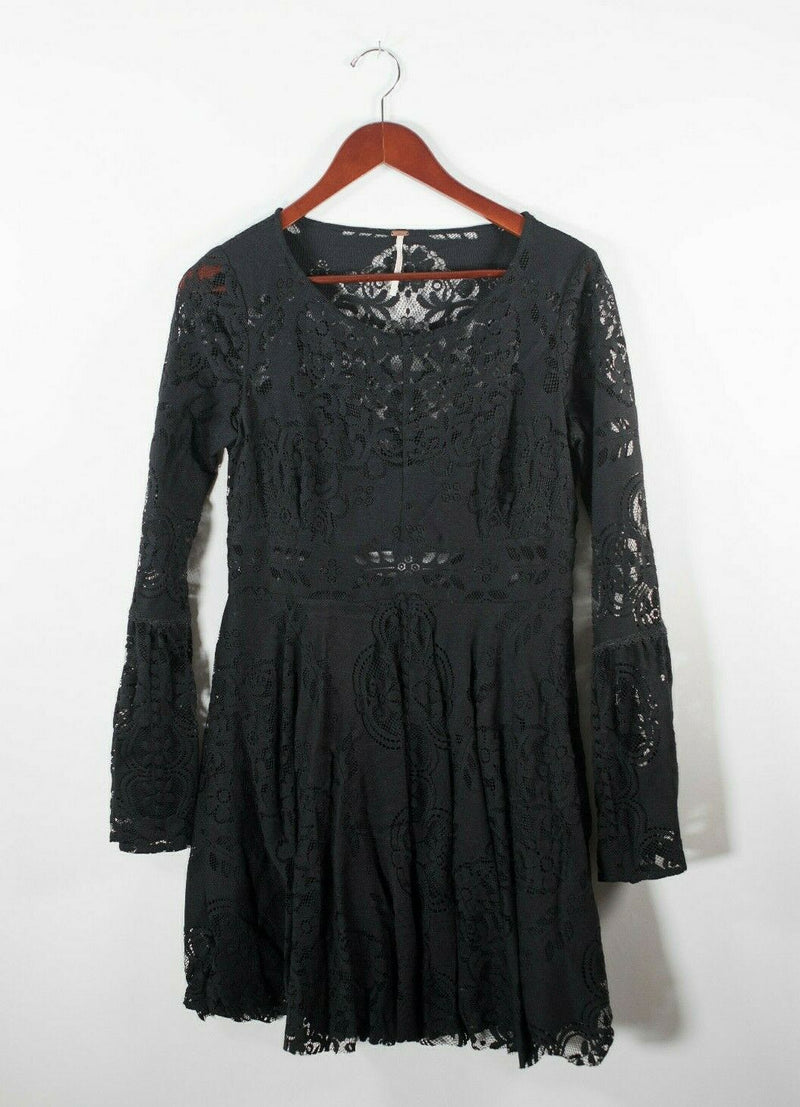 Free People Womens Medium Black Dress Stretch Lace Long Sleeve Open Back Mini