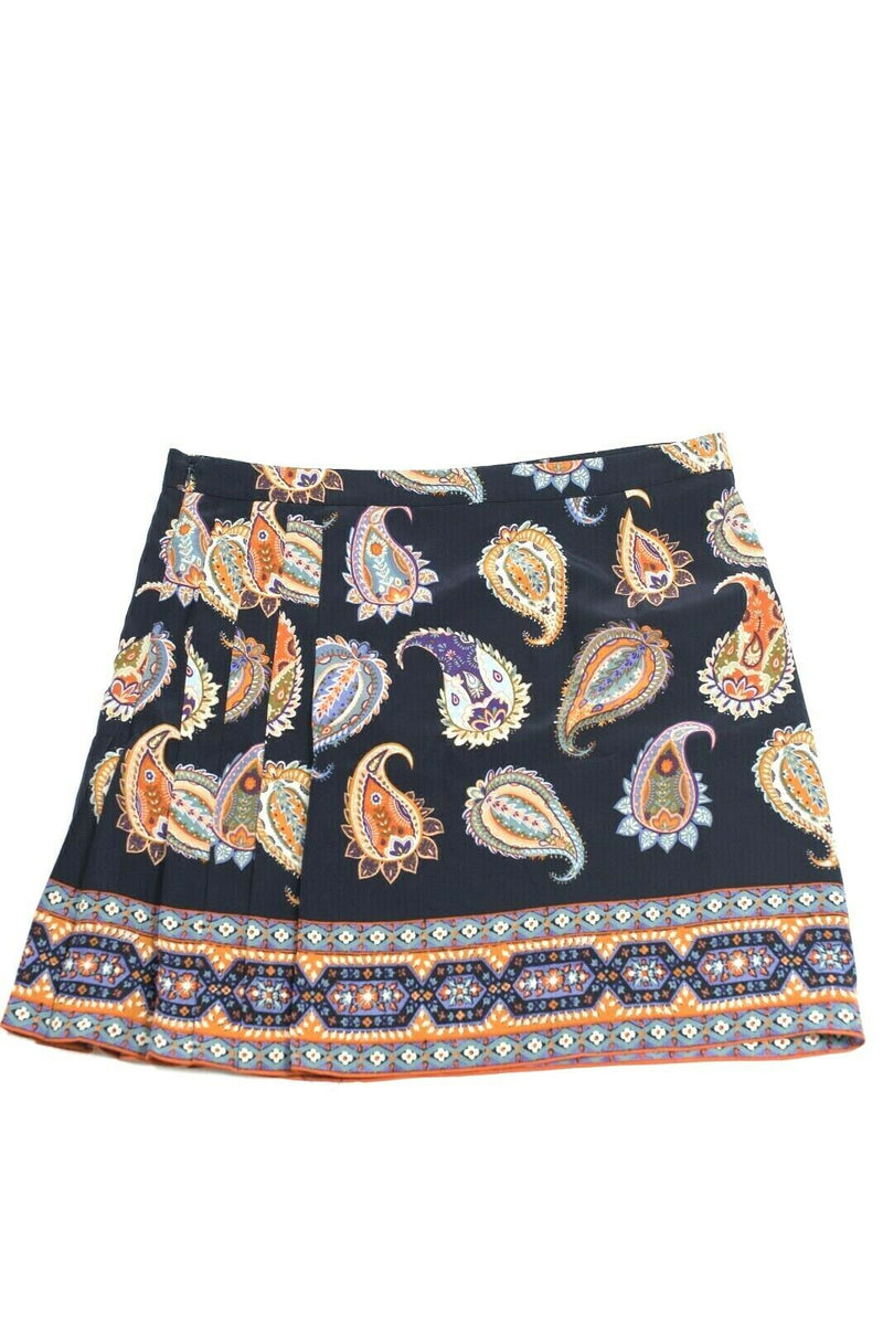 Tory Burch Women Size 12 Large Navy Blue Orange Skirt Mini Paisley Graphic Silk