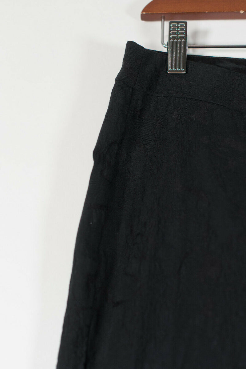 Eileen Fisher Womens Small Black Pants Embossed Slim Stretch Side Zip Trousers