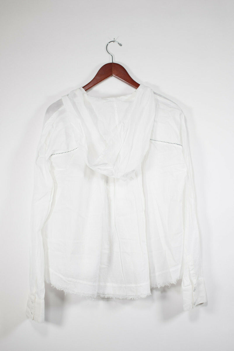 Free People Medium White Hooded Blouse