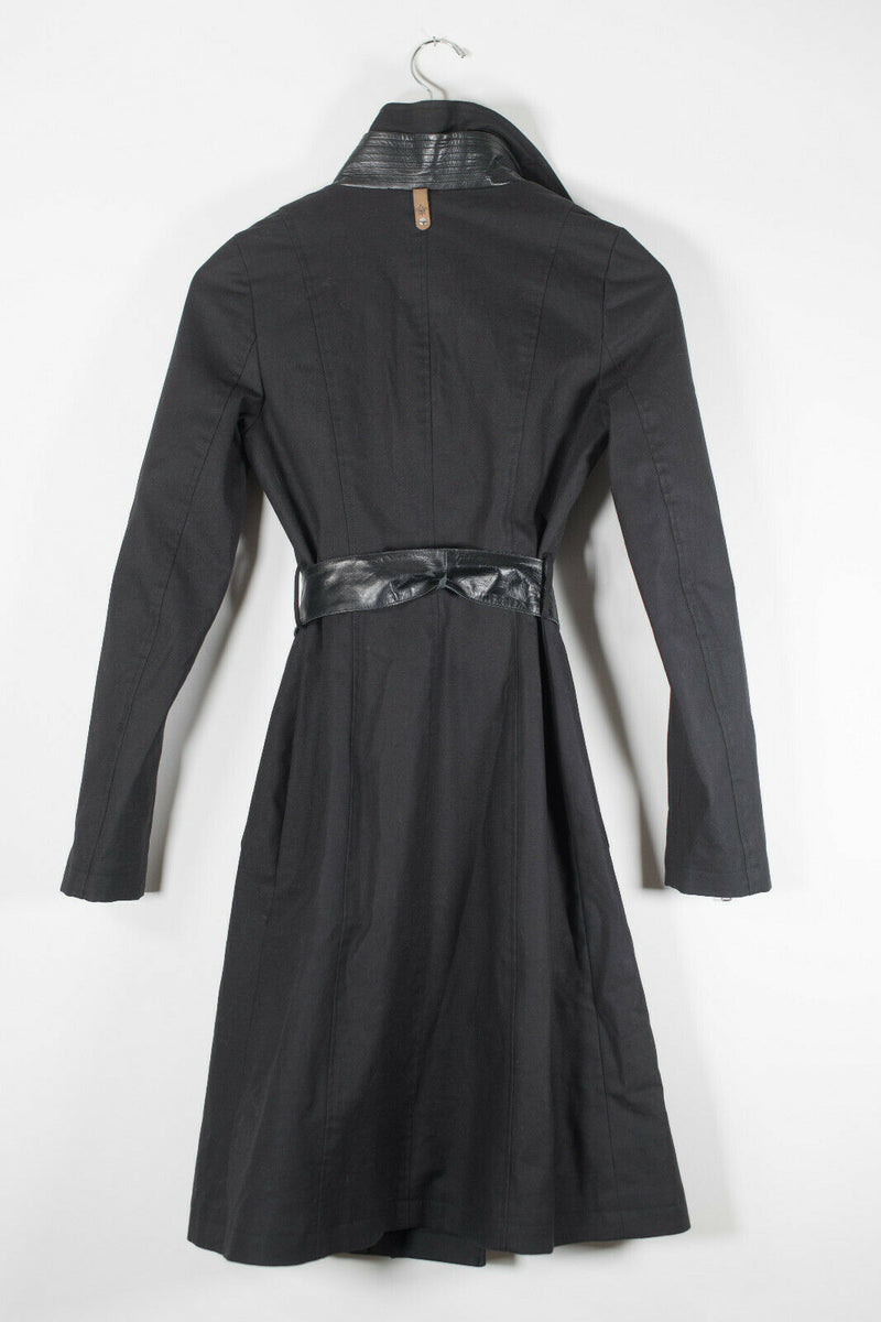 Mackage Womens Size XS Black Trench Coat Belted Cotton Leather Sleeve Jacket Zip