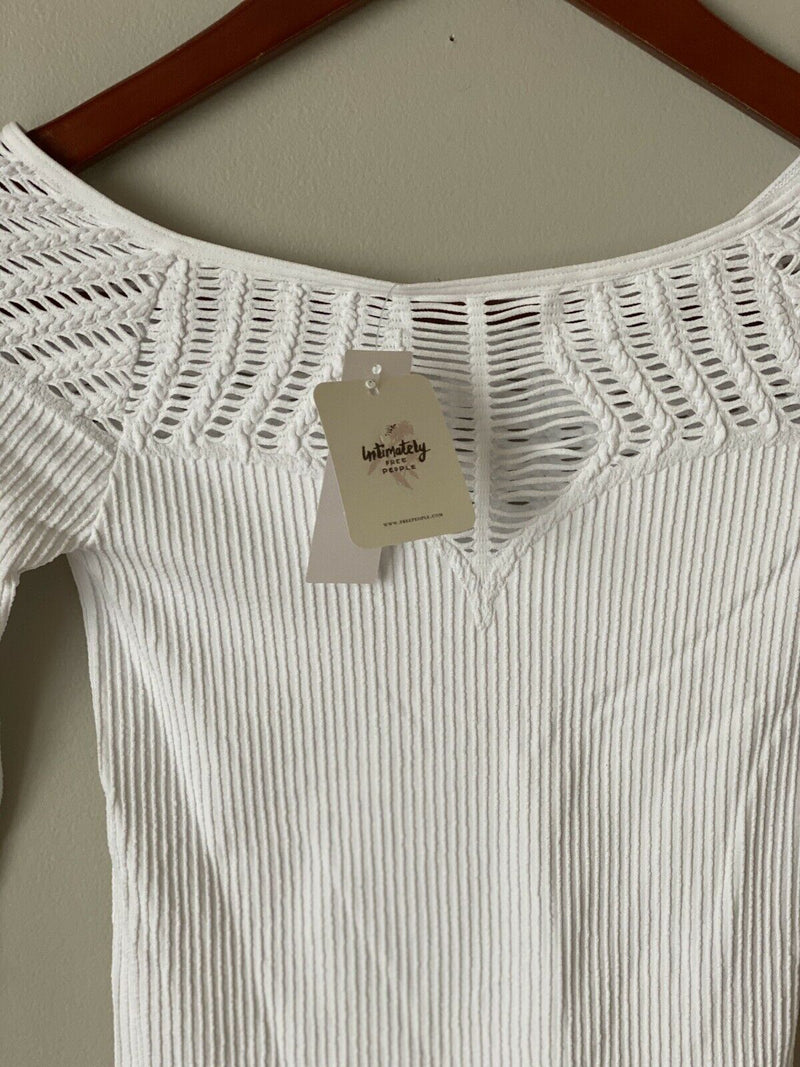 Free People Intimately Women's XS/S White Top Seamless Ribbed Long Sleeve Shirt