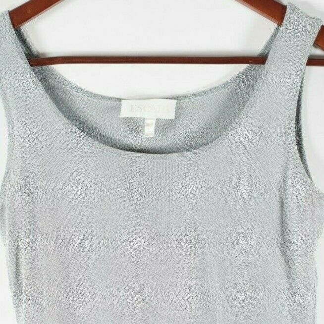 Escada Womens Size 36 XS Gray Tank Top Knit Sleeveless Shell Vintage Knit Shirt