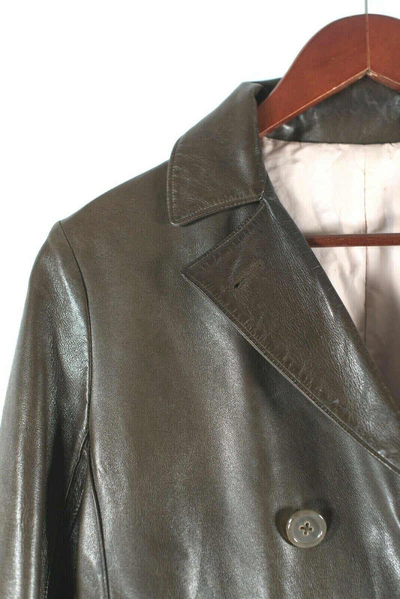 Jil Sander Leone Womens 40 Small Brown Coat Double Breasted Leather VTG Jacket
