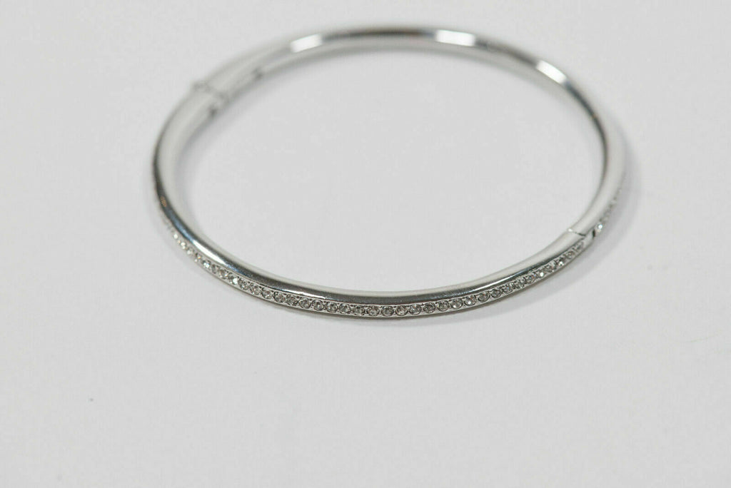 Nadri 925 Silver Bracelet Half Pave CZ Hinged Oval Bangle