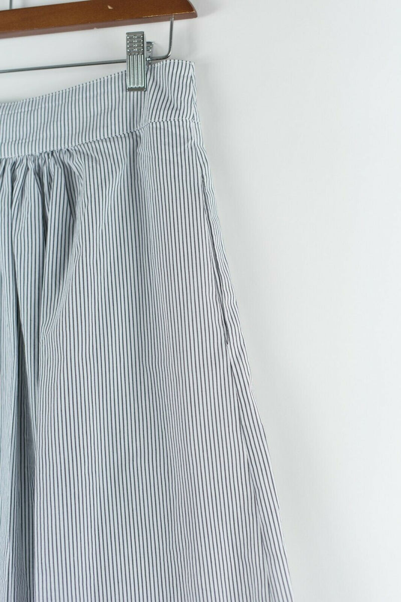 Solitaire Womens Large Blue White Skirt Button Front Seersucker Striped Midi NWT
