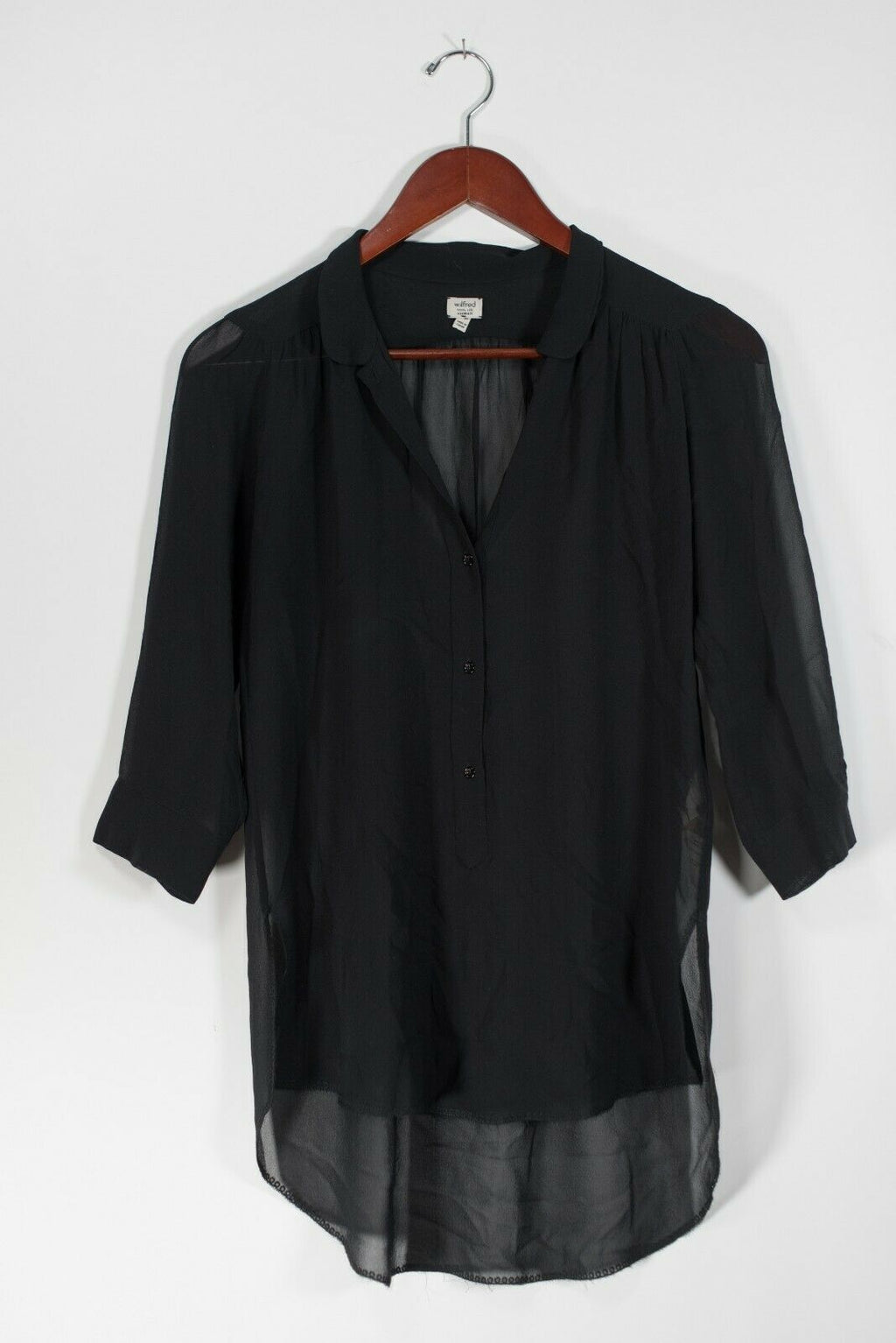 Artizia Wilfred Womens Size XXS Black Guilia Blouse Sheer V-Neck Silk Tunic Top