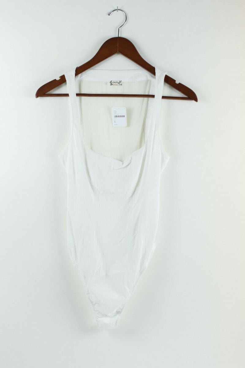 Free People Intimately Womens Size Small White Bodysuit Semi Sheer Tank Top NWT