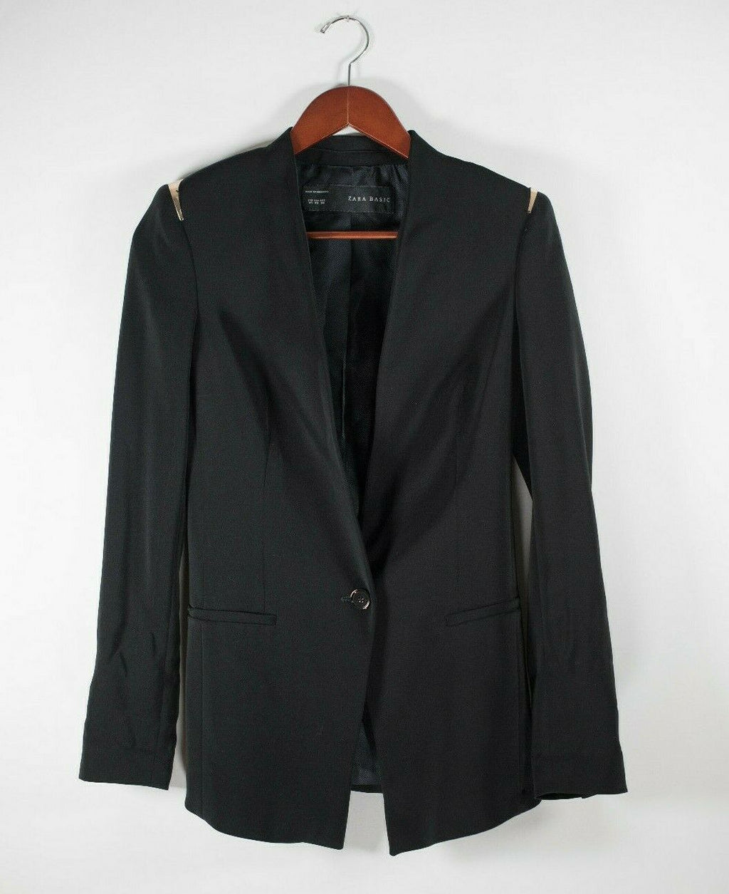 Zara Basic Womens Size XS Black Blazer Padded Copper Shoulders Button Jacket