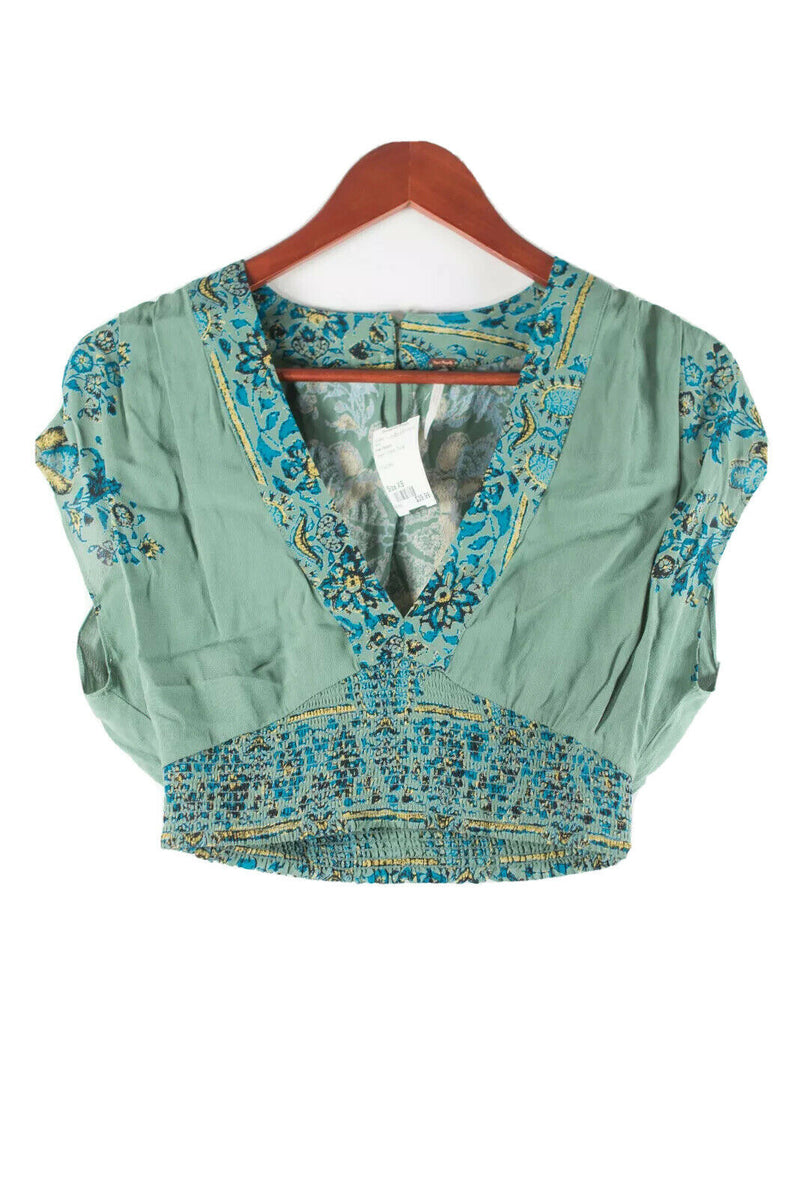 Free People Womens XS Green T Shirt Cropped V-Neck Short Sleeve Boho Blouse Top