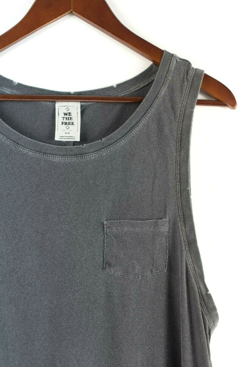 We The Free People Womens Medium Gray Tank Top Cotton Peplum Pullover Shirt Tee