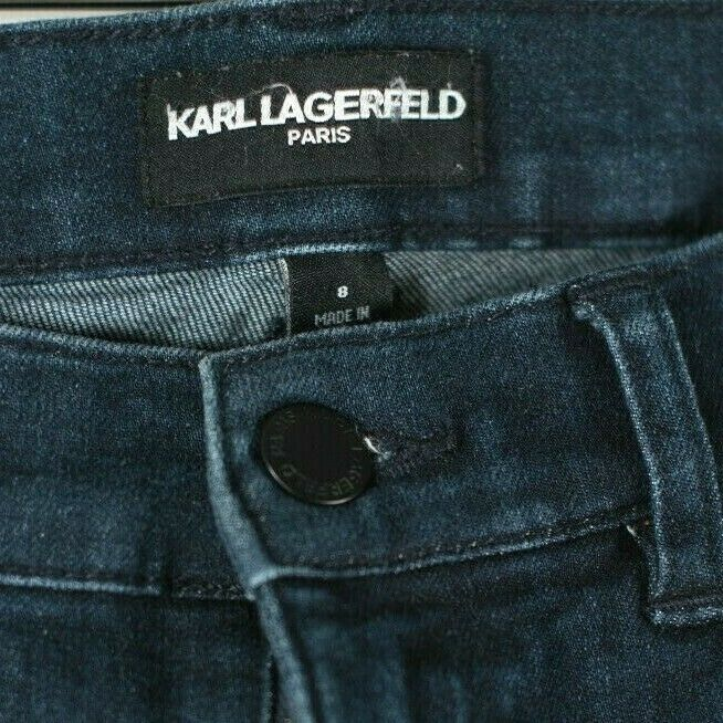 Karl Lagerfeld Womens Size 8 Blue Jeans Tapered Dark Wash Faded Straight Denim