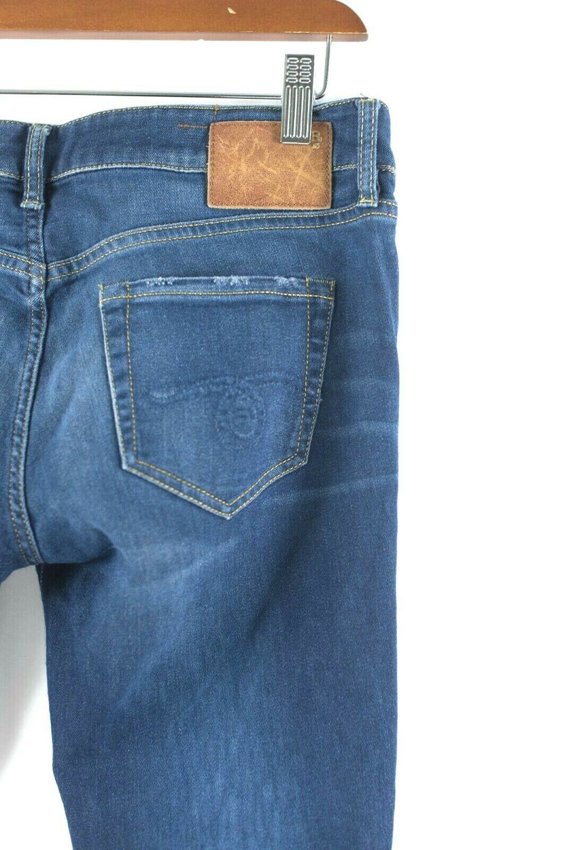 R13 Womens Size 28 Medium Blue Jeans Faded Dark Cropped Skinny Distressed Jeans