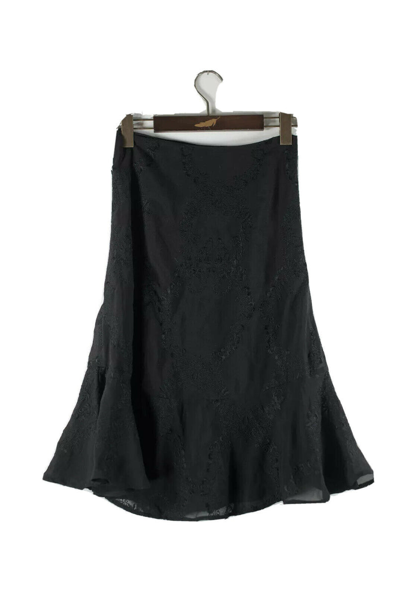 For Love And Lemons Womens XS Black Skirt Skater Embroidered Knee Length Nylon