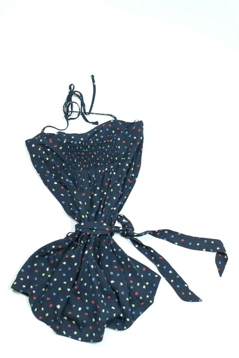 Topshop Womens  Size 8 US 12 UK Navy Blue Floral Jumpsuit Tank Playsuit Romper