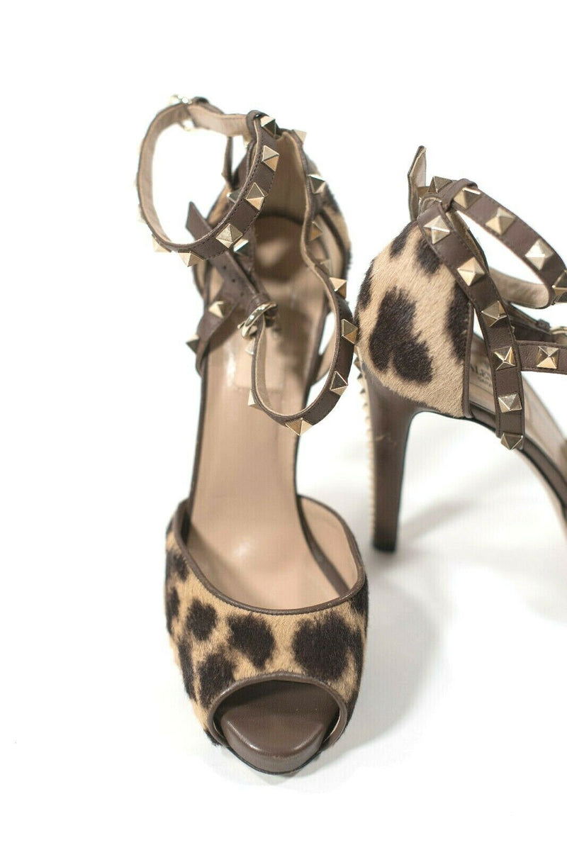Valentino Womens 38 7.5 Brown Pumps Rockstud Calf Hair Leopard Stiletto $1186