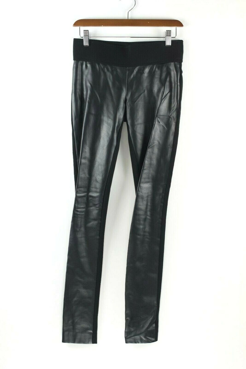 Club Monaco Womens Size 0 Black Pants Tasha Faux Leather Front Trousers Leggings