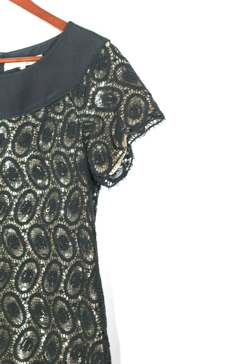 3.1 Phillip Lim Womens Size 6 Small Black Gold Dress Metallic Sequins Crochet