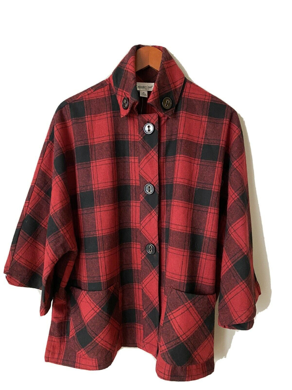 Coldwater Creek Women's Medium Red Black Jacket 3/4 Wool Buffalo Check Coat NWT